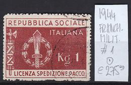 R024 - REPUBBLICA SOCIALE - FRANCHIGIA MILITARE SASS.1 USATO - Unclassified