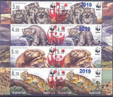 "2019. Tajikistan, Red OP ""WWF LOGO  2019"" On WWF Issue 2017, 2 Sets Se-tenant, Mint/** - Tadschikistan"