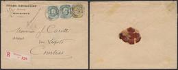 émission 1869 - N°30 X2 + N°32 Sur Lettre En Recommandé (double Port) De Mouscron (1883) > Courtrai. - 1869-1883 Leopold II