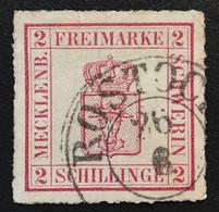 Mecklenburg-Schwerin Mi. 6a = 300€ Geprüft Berger BPP, 1864 2 S Dunkelmagenta Gestempelt Rostock (used Oblitéré - Mecklenburg-Schwerin