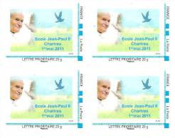 """(L137) Chartres : école Jean Paul II T. """"Montimbreàmoi"""" Issu De Feuille (cadre Bleu) En Bloc De 4 (2011) (L137) - Personnalisés (MonTimbraMoi)"""
