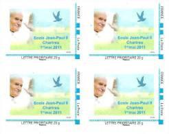 "(L137) Chartres : école Jean Paul II T. ""Montimbreàmoi"" Issu De Feuille (cadre Bleu) En Bloc De 4 (2011) (L137) - Francia"