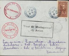 CAD Bleu Tananarive 20 10 35 Cachet Tour Madagascar En Avion + Cachets Aéro Club Dos 16 CAD Escales Et Arrivée YT 184 - Airmail