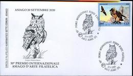 59372 Italia, Special Postmark 2020 On Special Cover Asiago,inter.prix Asiago, Showing A Owl, Eule, Hibou - Eulenvögel
