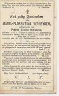Souvenir Mortuaire VERHEYDEN Maria Florentina (1866-1900) Geboren Te ONZE-LIEVE-VROUW-LOMBEEK Overleden Te PAMEL - Andachtsbilder
