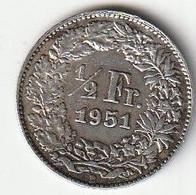PIECE ARGENT 1/2 FRANC SUISSE 1951 B - Suisse