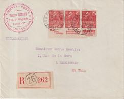 FRANCE : REC  A 1,50 F . 3 EX . N° 272 . AVEC BANDE DE PUB  . FEMME FACHI . 1931 . - Brieven En Documenten