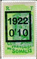 Cote Des Somalis 1922 Surcharge 0f10 YT 101 - Nuovi