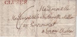 """FRANCE : MP . """" CLUSES  """" . ( EN ROUGE ) .  POUR EVIAN . TAXEE . DATE ? . - 1801-1848: Precursores XIX"""