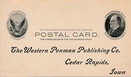 1 Carte Entiers Postal ETATS UNIS UNITED STATES OF AMERICA MC KINLEY The Western Penman Publishing Cedar Rapids IOWA - 1845-47 Emissioni Provinciali