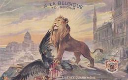 Guerre 1914-1918 - A La Belgique - To Belgium - Lion Terrassant L'Aigle - Pas Circulé - BE Un Coin Plié - War 1914-18