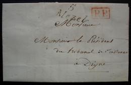5/ Mezel, 1839 Cursive Sur Lettre En Port Payé Pour Digne - 1801-1848: Precursori XIX