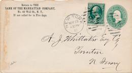 1 Enveloppe Entiers Postal ETATS UNIS  UNITED STATES OF AMERICA NEW YORK Bank MANHATTAN  N0 40 WALL ST N.Y.1880 - 1845-47 Emissioni Provinciali