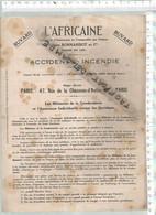 PO / BUVARD DOUBLE Format 14 @@ ASSURANCE L'AFRICAINE @@ ACCIDENTS INCENDIE @@ MILITAIRE GENDARMERIE - Bank En Verzekering