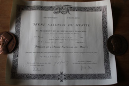 Diplôme Officier Ordre National Du Mérite  Ingénieur Général 1968 Général De Gaulle - Diplomi E Pagelle