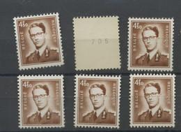 6 Timbres Avec N° Au Verso  Ex Rouleau Sans Charnière - 1953-1972 Glasses