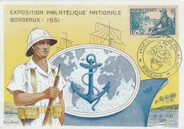 Carte Maximum -  Exposition Philatélique Nationale Bordeaux 1951 (Pour Nos Soldats) - 1950-59