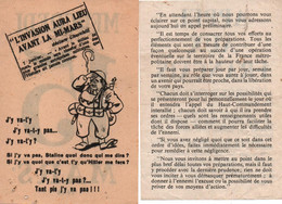 TRACT VICHY ANTI ALLIES PROPAGANDE ETAT FRANCAIS - 1939-45