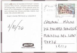 2020 TARIFFA BEATO FRA GERARDO SASSO SCALA CITTA' NATALE SU CARTOLINA PUBBLICITARIA TIM FERRARI - 2011-...: Poststempel