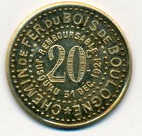 """1921 // """"ESSAI"""" 20 Centimes // C.C.B.B. // CHEMIN DE FER DU BOIS DE BOULOGNE - Proofs"""