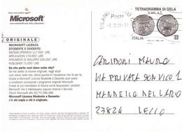 2020 TARIFFA B TETRADRAMMA DI GELA SU CARTOLINA PUBBLICITARIA MICROSOFT - 2011-...: Poststempel
