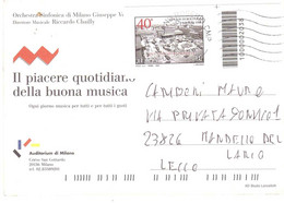2020 TARIFFA B STRAGE DI BOLOGNA CODICE BARRE CARTOLINA PUBBLICITARIA ORCHESTRA SINFONICA MILANO GIUSEPPE VERDI - 2011-...: Poststempel