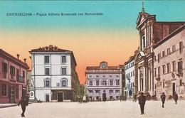 CIVITAVECCHIA - CARTOLINA - PIAZZA VITTORIO EMANUELE CON MONUMENTO - Civitavecchia