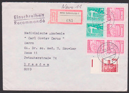 Schönheide 10 Und 20 Pfg. DDR-Mark Und 100 Pfg. DM Neue Währung, R-Brief Portogenau Im Verkehrsgebiet Ost 18.7.90 - Lettere