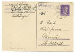 Troppau Opava Ganzsache BOHUTSCHOWITZ über Troppau Landpoststempel 1942 R! - Sudetenland
