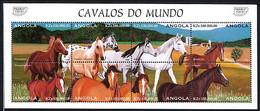 ANGOLA 1997, Yvert 1071/8, RACES DE CHEVAUX, Feuillet De 8 Valeurs, Neuf / Mint. R978 - Cavalli