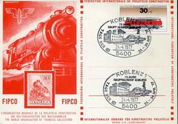 59374 Germany, Special Card And Postmark 1977 Koblenz, Railway Day, Hauptbahnhof Koblenz - Trenes