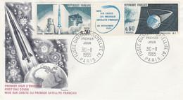 1464/1465 FDC FUSEE DIAMAND/SATELLITE - PARIS 30.11.65 - 1960-1969