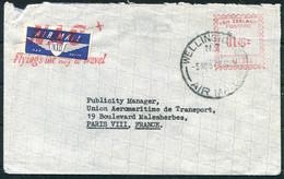 New Zealand National Airways Corporation Cover, Wellington - Paris France. NAC Slogan Franking Machine Airmail - Briefe U. Dokumente