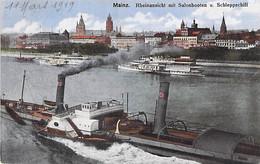 PENICHE Barge Lastkähne Aken Chiatte ( DEUTSCHLAND Allemagne ) MAINZ - Sur Les Bords Du Rhin - Jolie CPA Colorisée - Embarcaciones