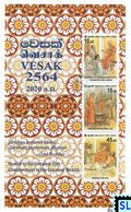 Sri Lanka Stamps 2020, Vesak, Buddha, Buddhism, Medical, Pandemic, Covid-19, MS - Sri Lanka (Ceylon) (1948-...)