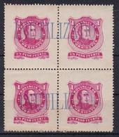 """PROVINCIA DE CORRIENTES, UN PESO FUERTE. CIRCA 1890's. """"INUTILIZADO"""" SURCHARGE, BLOC DE QUATRE MNH -LILHU - Corrientes (1856-1880)"""
