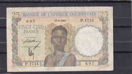 AOF Afriquce Occidentale WEST  25 Fr 1943 - West African States