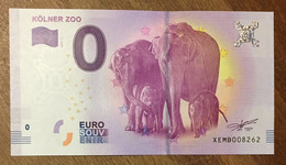 2017 BILLET 0 EURO SOUVENIR ALLEMAGNE DEUTSCHLAND KÖLNER ELEPHANTS ZOO ZERO 0 EURO SCHEIN BANKNOTE PAPER MONEY - [17] Vals & Specimens
