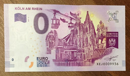 2017 BILLET 0 EURO SOUVENIR ALLEMAGNE DEUTSCHLAND KÖLN AM RHEIN ZERO 0 EURO SCHEIN BANKNOTE PAPER MONEY - [17] Vals & Specimens