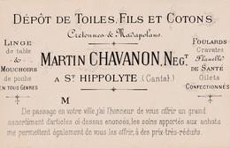15 SAINT HIPPOLYTE   Carte De Visite  De MARTIN CHAVANON   Marchand De Toiles - Sonstige Gemeinden