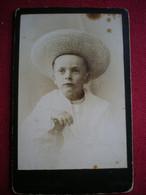 PHOTO CDV - Enfant Au Chapeau, Photo Fodor Sandor à Dieesen (allemagne). - Anonieme Personen