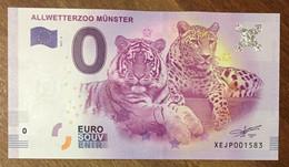 2017 BILLET 0 EURO SOUVENIR ALLEMAGNE DEUTSCHLAND ALLWETTERZOO MÜNSTER TIGRE ZERO 0 EURO SCHEIN BANKNOTE PAPER MONEY - [17] Vals & Specimens