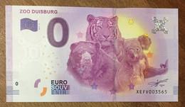 2017 BILLET 0 EURO SOUVENIR ALLEMAGNE DEUTSCHLAND ZOO DUISBURG TIGRE OURS KOALA ZERO 0 EURO SCHEIN BANKNOTE PAPER MONEY - [17] Vals & Specimens