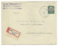 Troppau Opava R-Brief Aptierter Stempel & Geänderter R-Zettel 1938 R! - Sudetenland