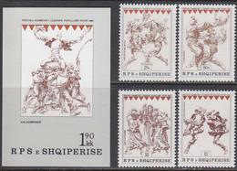 Albania 1985 - National Festival Of Folk Games, Mi-Nr. 2282/85 + Bl. 86, MNH** - Albania