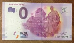 2017 BILLET 0 EURO SOUVENIR ALLEMAGNE DEUTSCHLAND SCHLOSS BURG ZERO 0 EURO SCHEIN BANKNOTE PAPER MONEY - [17] Vals & Specimens