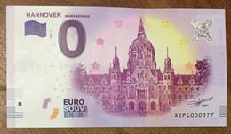 2017 BILLET 0 EURO SOUVENIR ALLEMAGNE DEUTSCHLAND HANNOVER ZERO 0 EURO SCHEIN BANKNOTE PAPER MONEY - [17] Vals & Specimens