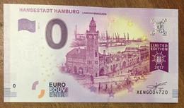 2017 BILLET 0 EURO SOUVENIR ALLEMAGNE DEUTSCHLAND HANSESTADT HAMBURG ZERO 0 EURO SCHEIN BANKNOTE PAPER MONEY - [17] Vals & Specimens