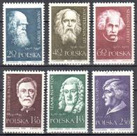 Poland 1959 - Famous Scientists -  Mi 1132-37 - MNH (**) - Unused Stamps