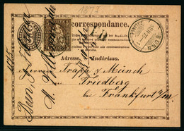 30 Zusatzfrankatur Auf Postkarte Gelaufen Von BERN Nach FRIEDBERG Bei Frankfurt A. M. - Briefe U. Dokumente